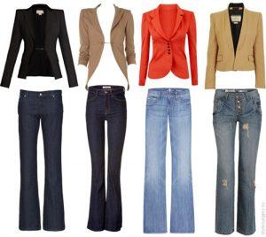 Как выглядеть красиво: стильные жакеты и джинсы